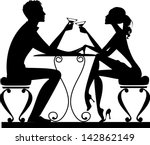 silhouette of a man and a woman ... | Shutterstock .eps vector #142862149