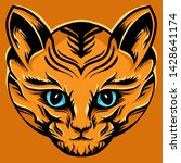 cat head hand drawing detailing ... | Shutterstock .eps vector #1428641174
