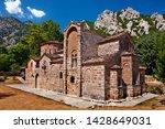 TRIKALA, THESSALY, GREECE. The byzantine church of Porta Panagia, close to Pyli town, right next to Portaikos river.