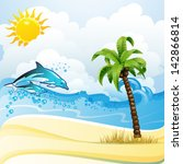 beach with palm tree and... | Shutterstock .eps vector #142866814