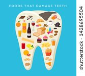 bad food that damages teeth... | Shutterstock .eps vector #1428695504