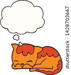cartoon cat sleeping with... | Shutterstock .eps vector #1428703667