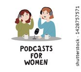 women working for recording...   Shutterstock .eps vector #1428757571
