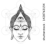 buddha face with all seeing eye ... | Shutterstock .eps vector #1428763154