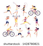 sports people set. exercising... | Shutterstock .eps vector #1428780821
