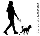 silhouette of woman and dog on... | Shutterstock .eps vector #1428803987