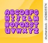 handmade purple alphabets on... | Shutterstock .eps vector #1428835574