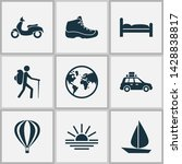 traveling icons set with air... | Shutterstock . vector #1428838817