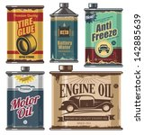 Vintage collection of old motor and engine oil cans, anti freeze, water and tire glue bottles. Retro vector design concept. Car cosmetics and transportation related products. - stock vector