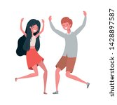 young couple dancing in white... | Shutterstock .eps vector #1428897587