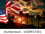 American Flag At Tropical...
