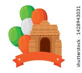 indian gate arch monument with... | Shutterstock .eps vector #1428943031