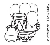 indian drum with balloons... | Shutterstock .eps vector #1428943367