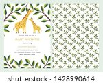 giraffe baby shower invitation... | Shutterstock .eps vector #1428990614
