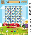 a snake ladder game template... | Shutterstock .eps vector #1428993821