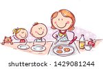 kids are waiting for pancakes... | Shutterstock .eps vector #1429081244