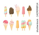 ice cream cone and bar. pastel... | Shutterstock .eps vector #1429098914