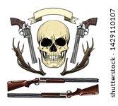 hand drawn sketch  color skull... | Shutterstock .eps vector #1429110107
