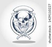hand drawn sketch  pirate skull ... | Shutterstock .eps vector #1429110227