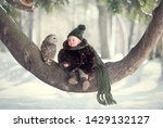 little cute boy with owl... | Shutterstock . vector #1429132127