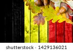belgium flag on autumn wooden... | Shutterstock . vector #1429136021