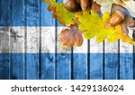 argentina flag on autumn wooden ... | Shutterstock . vector #1429136024