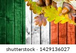 ireland flag on autumn wooden... | Shutterstock . vector #1429136027