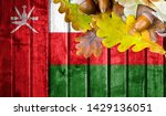 oman flag on autumn wooden... | Shutterstock . vector #1429136051