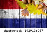 netherlands flag on autumn... | Shutterstock . vector #1429136057