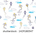 kites and flying rabbits with... | Shutterstock .eps vector #1429180547