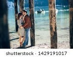 a couple in love at braies lake ... | Shutterstock . vector #1429191017
