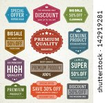 vector vintage sale label set... | Shutterstock .eps vector #142919281