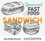 sandwich illustration   bagel ... | Shutterstock .eps vector #1429205594
