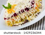 Stock photo herring under fur coat traditional russian layered salad with salted herring an vegetables 1429236344