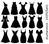 Vector Women Dress Silhouettes