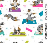 yoga dogs poses and exercises.... | Shutterstock .eps vector #1429271741