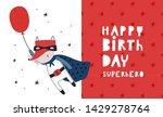 baby print with fox  happy... | Shutterstock .eps vector #1429278764