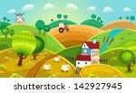 rural landscape with hills ... | Shutterstock .eps vector #142927945