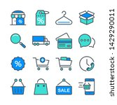 outline icons about shopping.... | Shutterstock .eps vector #1429290011