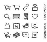 outline icons about shopping.... | Shutterstock .eps vector #1429290014