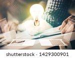 view of bulb lamp idea concept... | Shutterstock . vector #1429300901