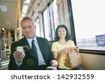 businessman and woman commuting ... | Shutterstock . vector #142932559