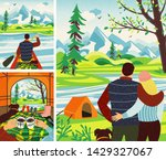 romantic camping trip. man and...   Shutterstock .eps vector #1429327067