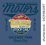 stock car kid speedway racing... | Shutterstock .eps vector #1429381097