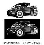 Cartoon Retro Hot Rod Isolated...