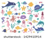 big set of cute marine... | Shutterstock .eps vector #1429410914