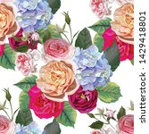 rose and hydrangea floral...   Shutterstock .eps vector #1429418801