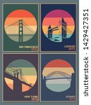 most famous bridges  vintage... | Shutterstock .eps vector #1429427351