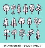 doodle white trees set with... | Shutterstock .eps vector #1429449827
