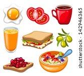 vector breakfast icon set   Shutterstock .eps vector #142946365